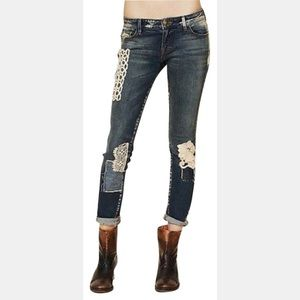 Free People Funky Lace Patched Skinny Jeans